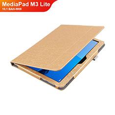 Handyhülle Hülle Stand Tasche Leder L01 für Huawei MediaPad M3 Lite 10.1 BAH-W09 Gold