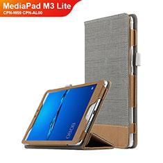 Handyhülle Hülle Stand Tasche Leder L01 für Huawei MediaPad M3 Lite 8.0 CPN-W09 CPN-AL00 Grau