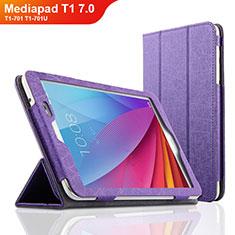 Handyhülle Hülle Stand Tasche Leder L01 für Huawei Mediapad T1 7.0 T1-701 T1-701U Violett