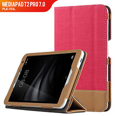 Handyhülle Hülle Stand Tasche Leder L01 für Huawei MediaPad T2 Pro 7.0 PLE-703L Rot