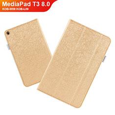 Handyhülle Hülle Stand Tasche Leder L01 für Huawei MediaPad T3 8.0 KOB-W09 KOB-L09 Gold