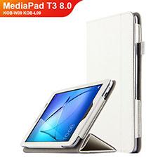 Handyhülle Hülle Stand Tasche Leder L01 für Huawei MediaPad T3 8.0 KOB-W09 KOB-L09 Weiß