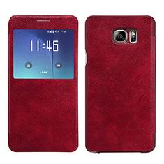 Handyhülle Hülle Stand Tasche Leder L01 für Samsung Galaxy Note 5 N9200 N920 N920F Rot