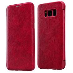 Handyhülle Hülle Stand Tasche Leder L01 für Samsung Galaxy S8 Rot