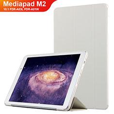 Handyhülle Hülle Stand Tasche Leder L02 für Huawei MediaPad M2 10.1 FDR-A03L FDR-A01W Weiß