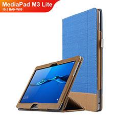 Handyhülle Hülle Stand Tasche Leder L02 für Huawei MediaPad M3 Lite 10.1 BAH-W09 Blau