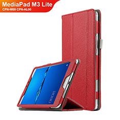 Handyhülle Hülle Stand Tasche Leder L02 für Huawei MediaPad M3 Lite 8.0 CPN-W09 CPN-AL00 Rot