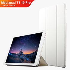 Handyhülle Hülle Stand Tasche Leder L02 für Huawei Mediapad T1 10 Pro T1-A21L T1-A23L Weiß