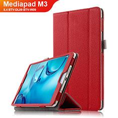 Handyhülle Hülle Stand Tasche Leder L03 für Huawei Mediapad M3 8.4 BTV-DL09 BTV-W09 Rot