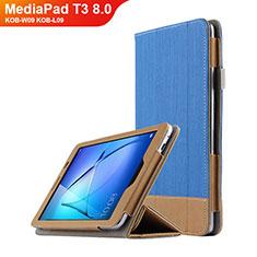 Handyhülle Hülle Stand Tasche Leder L03 für Huawei MediaPad T3 8.0 KOB-W09 KOB-L09 Blau