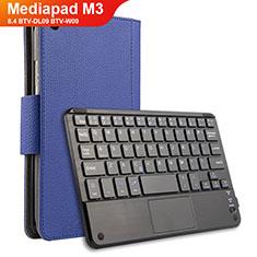 Handyhülle Hülle Stand Tasche Leder mit Tastatur für Huawei Mediapad M3 8.4 BTV-DL09 BTV-W09 Blau