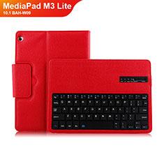 Handyhülle Hülle Stand Tasche Leder mit Tastatur L01 für Huawei MediaPad M3 Lite 10.1 BAH-W09 Rot