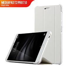 Handyhülle Hülle Stand Tasche Leder R01 für Huawei MediaPad T2 Pro 7.0 PLE-703L Weiß