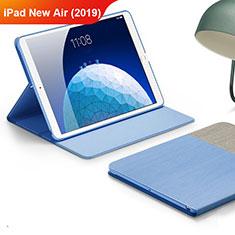 Handyhülle Hülle Stand Tasche Stoff für Apple iPad New Air (2019) 10.5 Hellblau