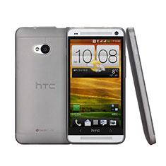 Handyhülle Hülle Ultra Dünn Schutzhülle Durchsichtig Transparent Matt für HTC One M7 Grau
