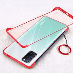 Handyhülle Hülle Ultra Dünn Schutzhülle Hartschalen Tasche Durchsichtig Transparent Matt U01 für Oppo A92 Rot