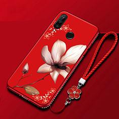 Handyhülle Silikon Hülle Gummi Schutzhülle Blumen für Huawei Honor 20 Lite Rot