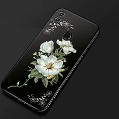 Handyhülle Silikon Hülle Gummi Schutzhülle Blumen für Huawei Honor 8X Schwarz