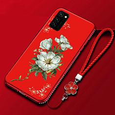 Handyhülle Silikon Hülle Gummi Schutzhülle Blumen für Huawei Honor V30 Pro 5G Rot
