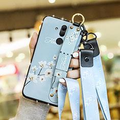 Handyhülle Silikon Hülle Gummi Schutzhülle Blumen für Huawei Mate 20 Lite Hellblau