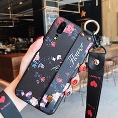 Handyhülle Silikon Hülle Gummi Schutzhülle Blumen für Huawei P20 Schwarz