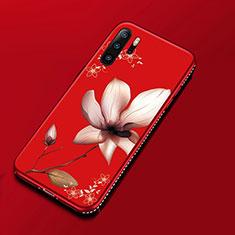 Handyhülle Silikon Hülle Gummi Schutzhülle Blumen für Huawei P30 Pro Rot