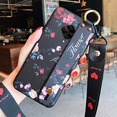 Handyhülle Silikon Hülle Gummi Schutzhülle Blumen für Vivo X50 Lite Schwarz