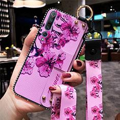 Handyhülle Silikon Hülle Gummi Schutzhülle Blumen für Xiaomi Mi 10 Pro Violett