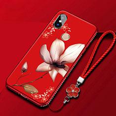 Handyhülle Silikon Hülle Gummi Schutzhülle Blumen für Xiaomi Redmi 6 Pro Rot