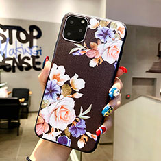 Handyhülle Silikon Hülle Gummi Schutzhülle Blumen H04 für Apple iPhone 11 Pro Max Schwarz