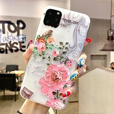 Handyhülle Silikon Hülle Gummi Schutzhülle Blumen H06 für Apple iPhone 11 Pro Max Rosa