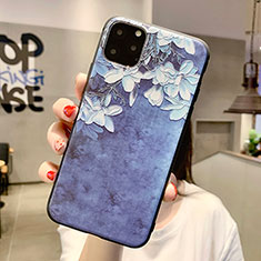 Handyhülle Silikon Hülle Gummi Schutzhülle Blumen H07 für Apple iPhone 11 Pro Max Blau