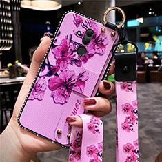 Handyhülle Silikon Hülle Gummi Schutzhülle Blumen H08 für Huawei Mate 20 Lite Pink