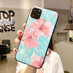 Handyhülle Silikon Hülle Gummi Schutzhülle Blumen H09 für Apple iPhone 11 Pro Max Cyan