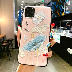 Handyhülle Silikon Hülle Gummi Schutzhülle Blumen H14 für Apple iPhone 11 Pro Max Hellblau