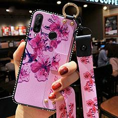 Handyhülle Silikon Hülle Gummi Schutzhülle Blumen K02 für Huawei Honor 20 Lite Violett