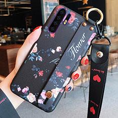 Handyhülle Silikon Hülle Gummi Schutzhülle Blumen K02 für Huawei P30 Pro Schwarz