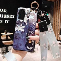Handyhülle Silikon Hülle Gummi Schutzhülle Blumen M01 für Samsung Galaxy S20 5G Blau