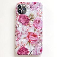 Handyhülle Silikon Hülle Gummi Schutzhülle Blumen S01 für Apple iPhone 11 Pro Rosa