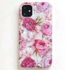 Handyhülle Silikon Hülle Gummi Schutzhülle Blumen S01 für Apple iPhone 11 Rosa