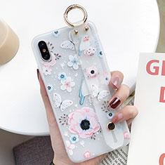 Handyhülle Silikon Hülle Gummi Schutzhülle Blumen S01 für Apple iPhone Xs Max Blau