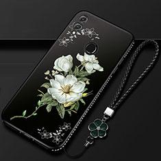 Handyhülle Silikon Hülle Gummi Schutzhülle Blumen S01 für Huawei Honor 10 Lite Schwarz