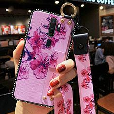 Handyhülle Silikon Hülle Gummi Schutzhülle Blumen S01 für Oppo A11X Violett