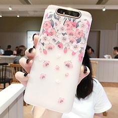 Handyhülle Silikon Hülle Gummi Schutzhülle Blumen S01 für Samsung Galaxy A80 Rosa
