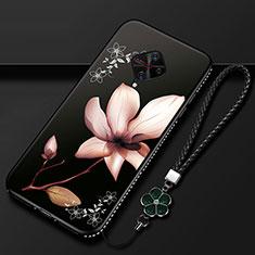 Handyhülle Silikon Hülle Gummi Schutzhülle Blumen S01 für Vivo X50 Lite Braun