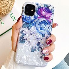Handyhülle Silikon Hülle Gummi Schutzhülle Blumen S02 für Apple iPhone 11 Blau