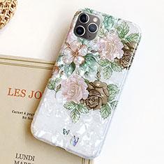 Handyhülle Silikon Hülle Gummi Schutzhülle Blumen S02 für Apple iPhone 11 Pro Grün