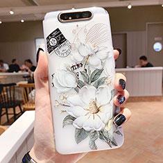 Handyhülle Silikon Hülle Gummi Schutzhülle Blumen S02 für Samsung Galaxy A80 Grün