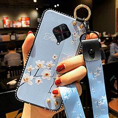 Handyhülle Silikon Hülle Gummi Schutzhülle Blumen S02 für Vivo X50 Lite Hellblau