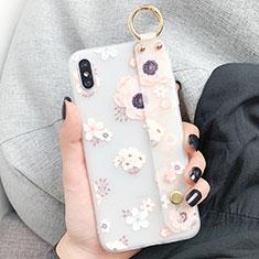 Handyhülle Silikon Hülle Gummi Schutzhülle Blumen S03 für Apple iPhone X Weiß